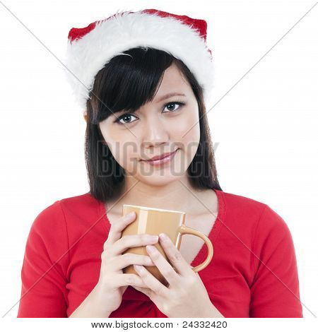 Christmas Girl Holding A Cup