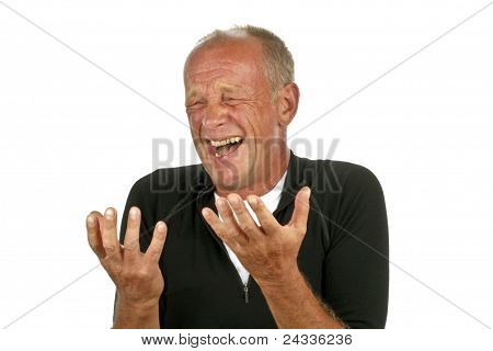 Laughing man on white background