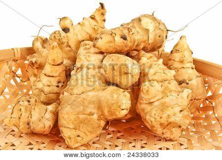 Fresh Ginger In A Basket