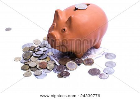Piggy Bank With Euros