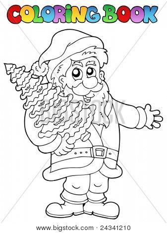 Coloring book Santa Claus topic 2 - vector illustration.