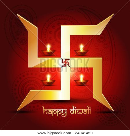 diwali diya with swastik symbol