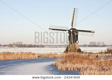 Typical dutch winterlandscape in the Netherlands