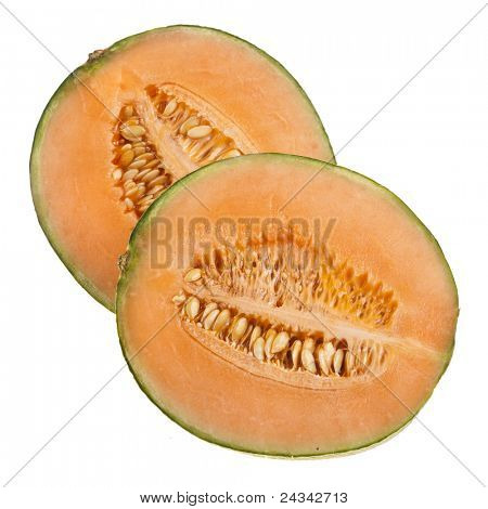 orange cantaloupe melon isolated on white
