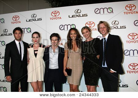 LOS ANGELES - OCT 15:Joshua Bowman, Christa B. Allen, Connor Paolo, Ashley Madekwe, Emily VanCamp, Gabriel Mann arrive at the 2011 EMAs at the Warner Brothers Studio on October 15, 2011 in Burbank, CA
