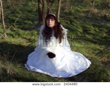 Young Bride In A White Dress On The Nature 2