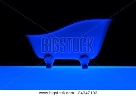 blue colour bath on black background