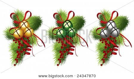 Jingle  bells with red ribbon, holly and pine branches