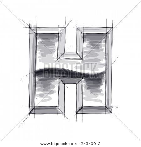 3d metal letters sketch - H. Bitmap copy my vector