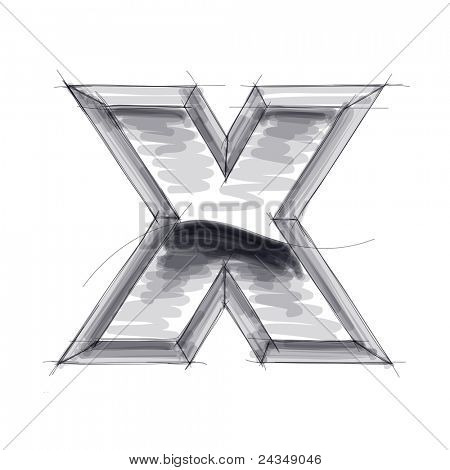 3d metal letters sketch - X. Bitmap copy my vector