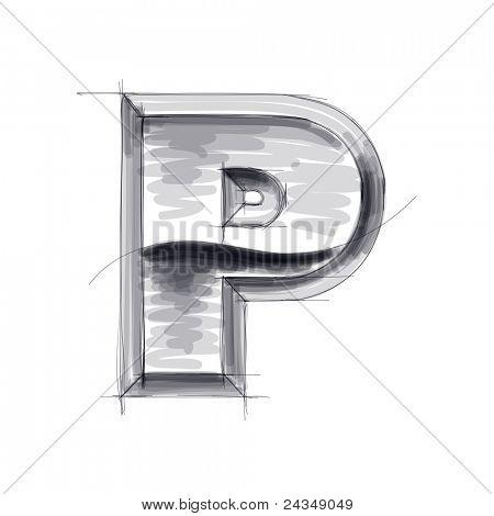3d metal letters sketch - P. Bitmap copy my vector