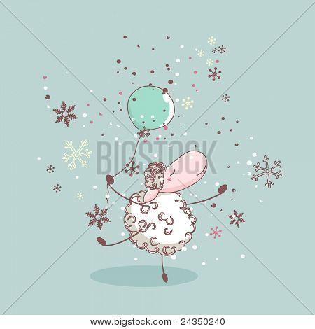 Winter-Abbildung mit tanzenden Schafe