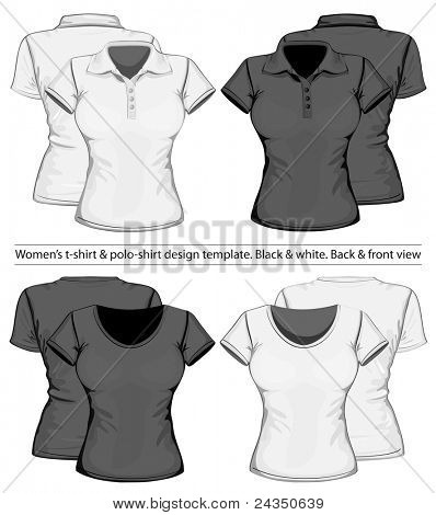 Vector. Women's polo-shirt and t-shirt design template (front and back view)