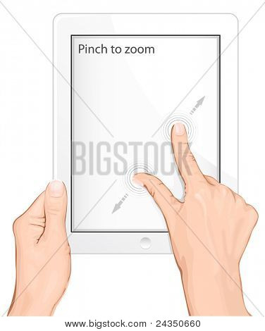 Vector multi-touch gesture for tablets & smartphone. Pinch to zoom