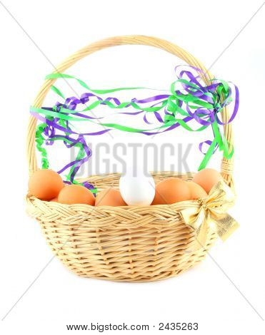 Easter Basket With A Bow, Eggs And Garland