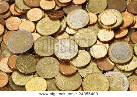 Pile Of Circulated Modern Euro Coins