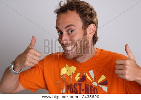 Young Man Giving Thumbs Up Sign