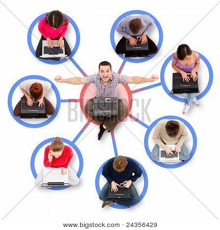 Miembros de la red social alrededor de una exitosa