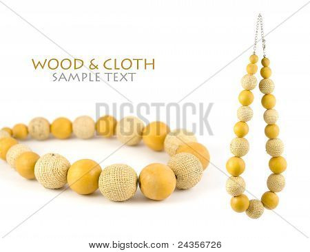 Wood & Cloth Necklace