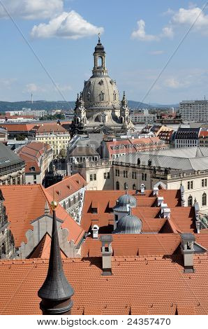 frauenkirche and roofs, dresden