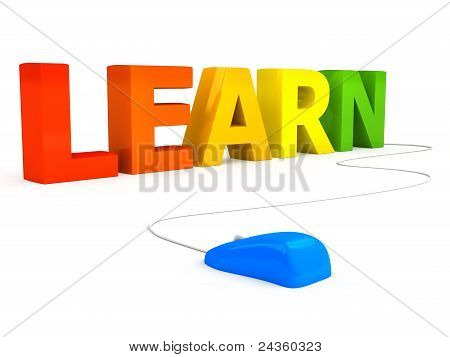 E-learning concept over white background