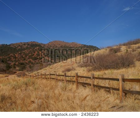 Field With Fence Line Colorado Springs Co Park