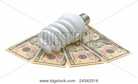 Energy Saving Light Bulb And U.s. Dollars