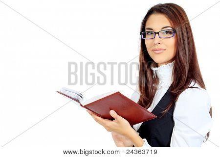 Beautiful businesswoman holding her diary. Isolated over white.