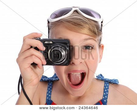 Excited Young Photographer Girl Taking Pictures