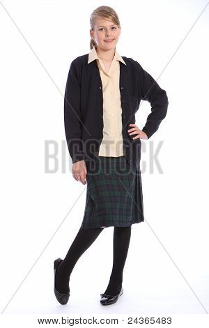 High School Education Blonde Girl In Uniform