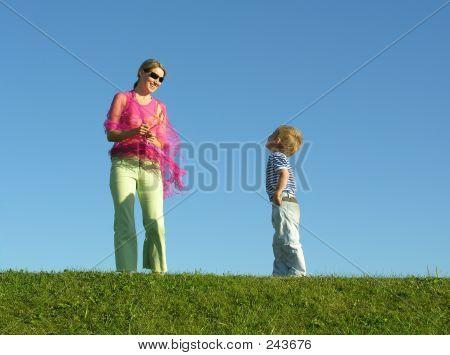 Sorriso Ver de mãe para filho no céu Bkue
