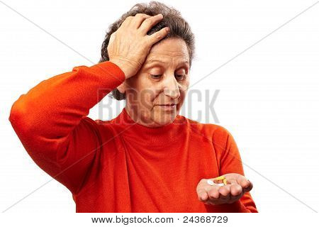 Senior Woman With Too Many Pills