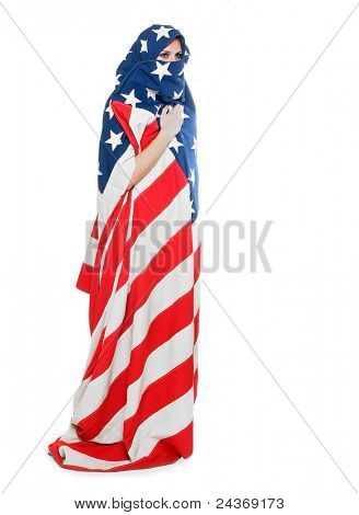 Woman dressed in american flag. Censor and freedom of speech concept. Media prisoner and human rights concept.