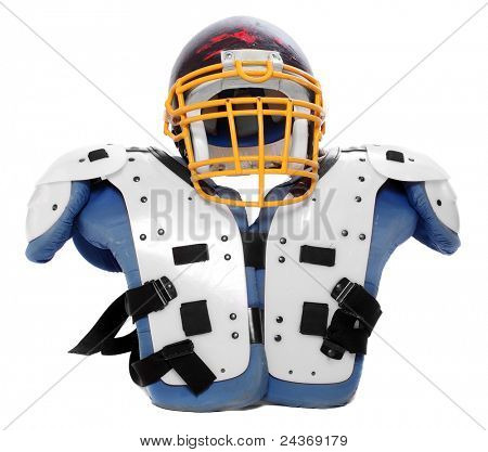 Old scratched football helmet and protection suit on a white background.