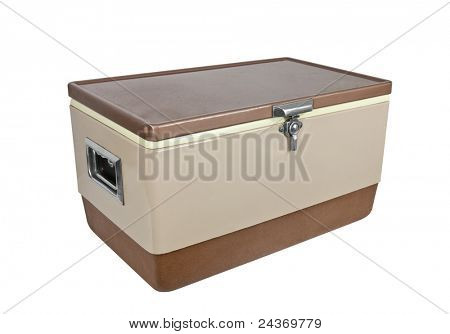 Vintage ice chest cooler from the 1970's isolated on white.