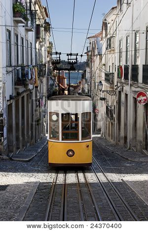 Famous Yellow Tram In Lissabon