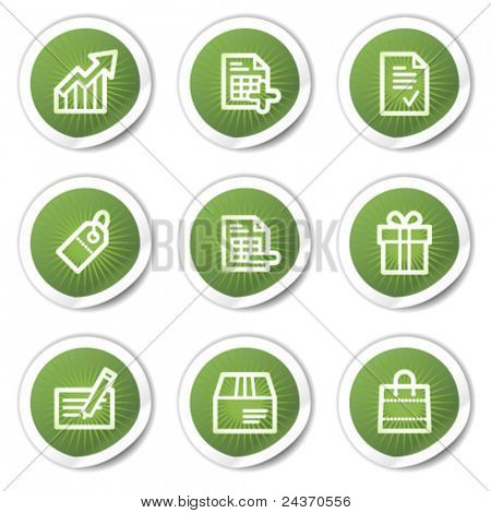Shopping web icons set 1, green stickers
