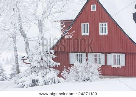 cottage in winter, Jizerske Mountains, Czech Republic
