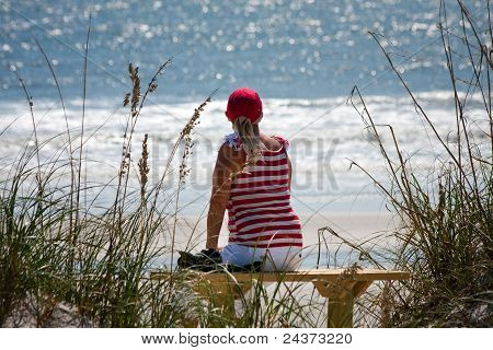 Woman Watching The Waves