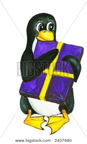 Penguin Gift Box Linux Holiday New Year Paint Drawing