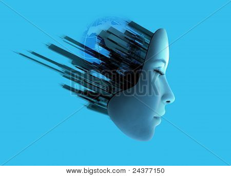 Womans Face With Abstract Technology.
