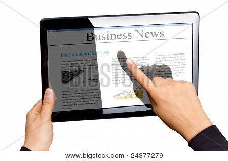 Touchpad with business news