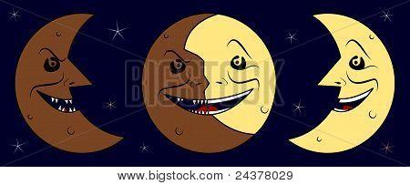 Dark half moon, moon & bright half moon