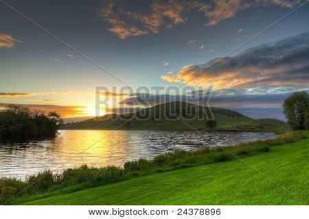 Lough Gur lake at sunset