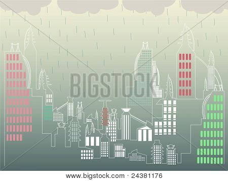 Abstract Rainy Cityscape Simple