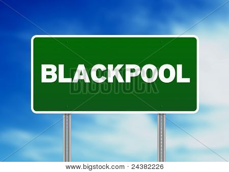 Green Road Sign -  Blackpool, England