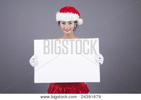 Pretty Woman With Blank Sign