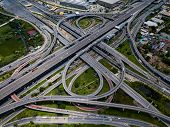 Top View Of Highway Road Junctions. The Intersecting Freeway Road Overpass The Eastern Outer Ring Ro poster