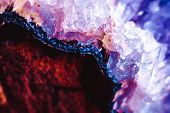 Crystal Stone Macro Mineral Surface, Purple Rough Amethyst Quartz Crystals poster