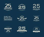25 - Year Anniversary Celebrating Logotype. 25th Anniversary Logo Set. poster